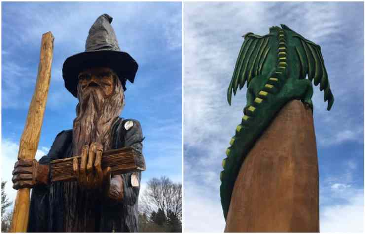 Wizards and dragons keep watch over the Fantasy Forest at Leila Arboretum. Photos by Adam Greene.