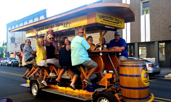 Sunrise Pedal Trolley prepares for a pub crawl. Photo Courtesy of Margaret Clegg