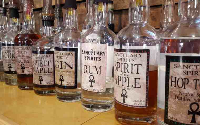 bottles of liquor from Sanctuary Spirits