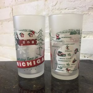 holiday themed michigan frosted mug