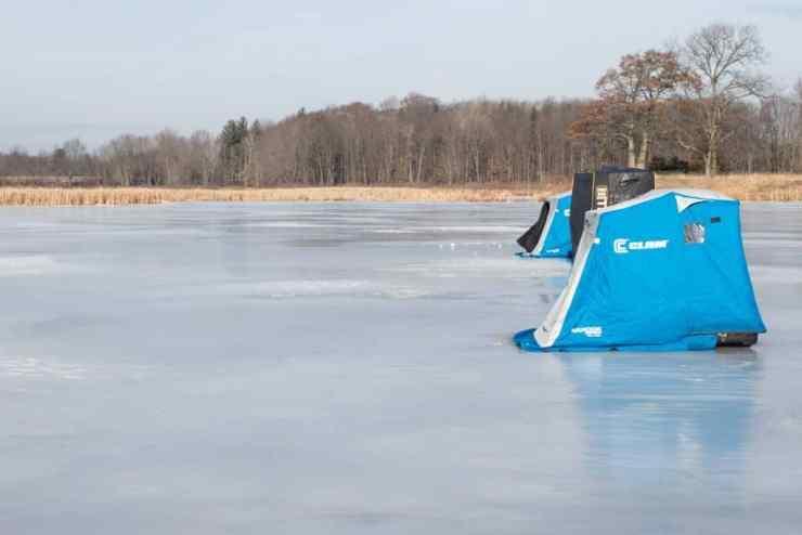 Ice fishing shanties. Photo courtesy of Amanda and Jeff Elliot