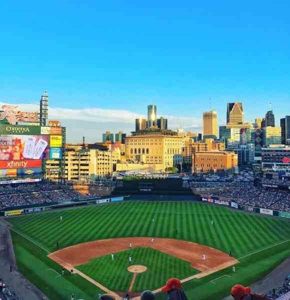 The Detroit skyline behind Comerica Park. Photo courtesy of drewhaack24 Instagram - The Awesome Mitten