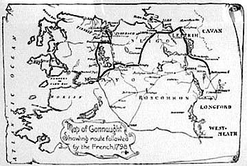 Map Depicting the French Invasion of 1798