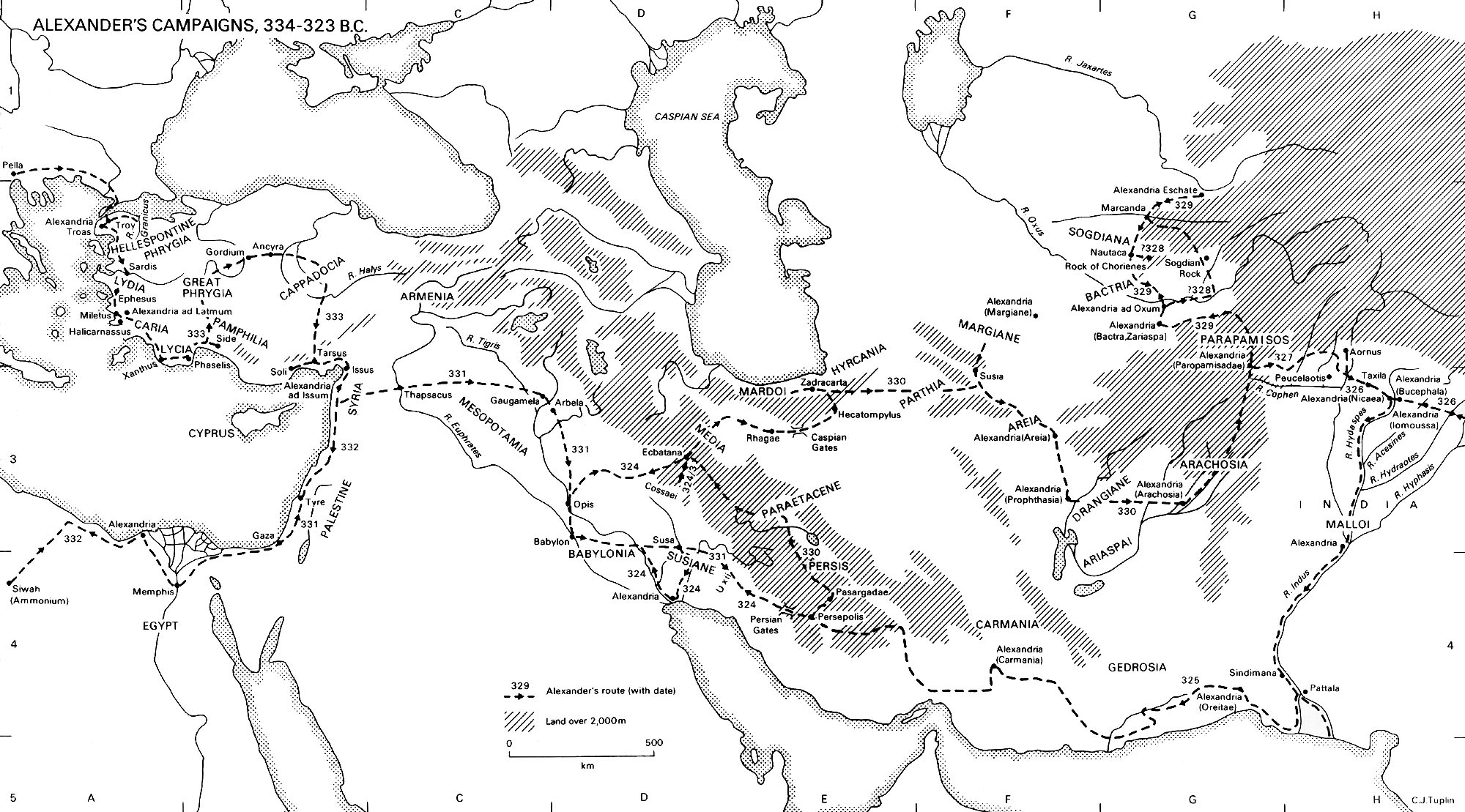 Map of Alexander's Campaigns