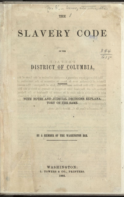 Slavery Code of the District of Columbia