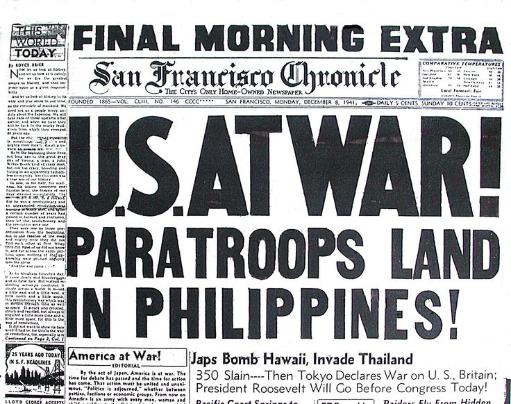 Newspapers Announce The Bombing Of Pearl Harbor