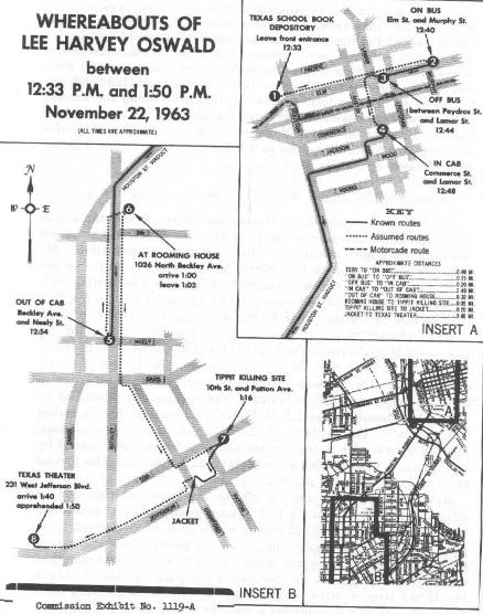 Map Depicting Oswald's Movements After 12:33 CST