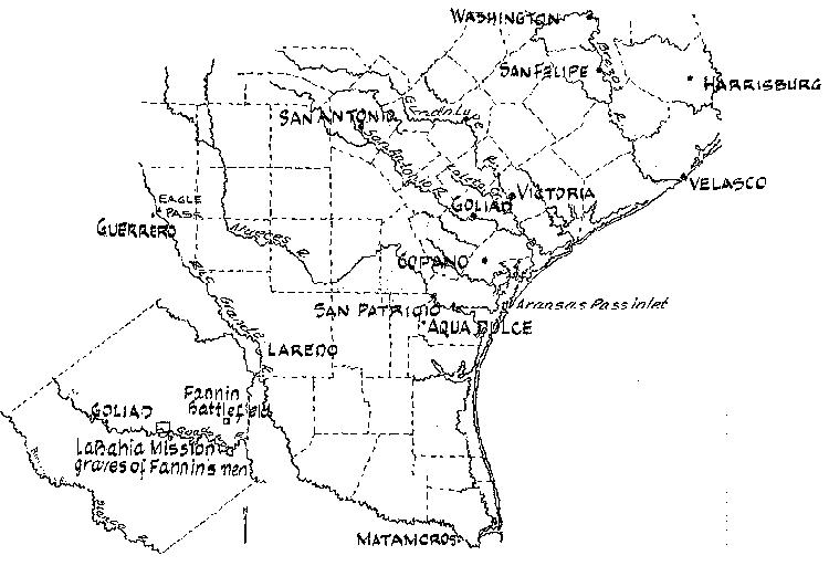 Goliad and Location of Graves following the Massacre