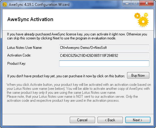 AweSync - Configuration Wizard - Activation