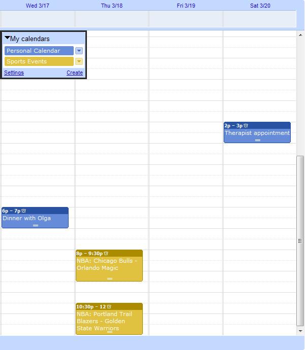 Events in 2 Google Calendars