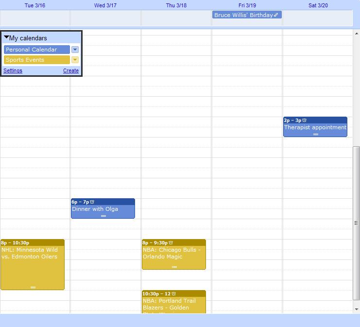 Google Calendar Synchronized by Categories