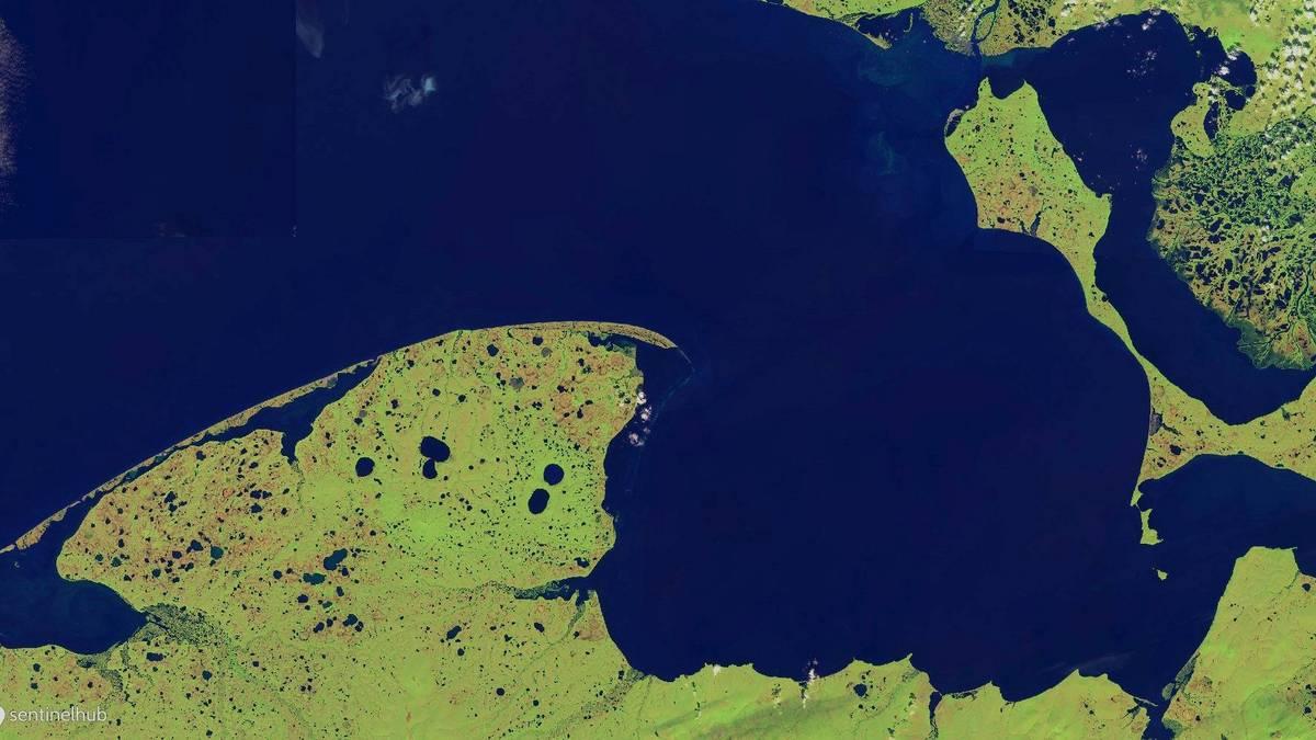 Sentinel-2 Falschfarbenbilddarstellung des Untersuchungsgebietes mit den Seward und Baldwin Halbinseln in Nordwestalaska. Aufnahmedatum: 3. Juli 2018.