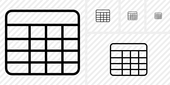 Database Table Icon. Outline Black. Professional Stock