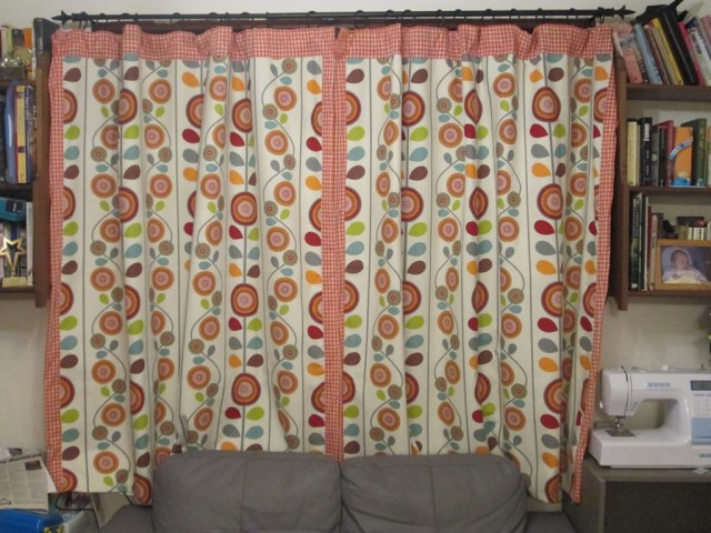 lined curtains tutorial autumn patch work cushion