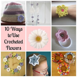 collage crocheted flower uses