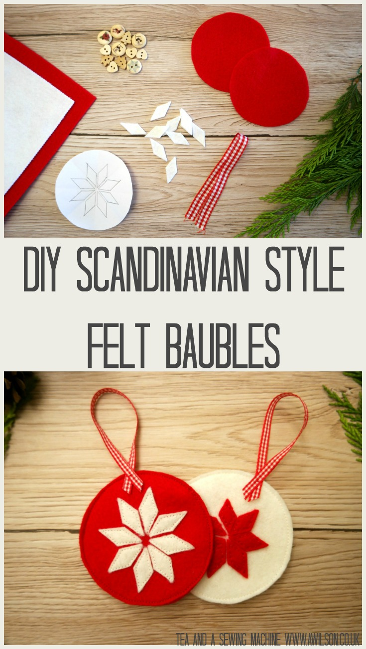 diy scandinavian style christmas decorations felt bauble star - Christmas Decorations To Make With Sewing Machine