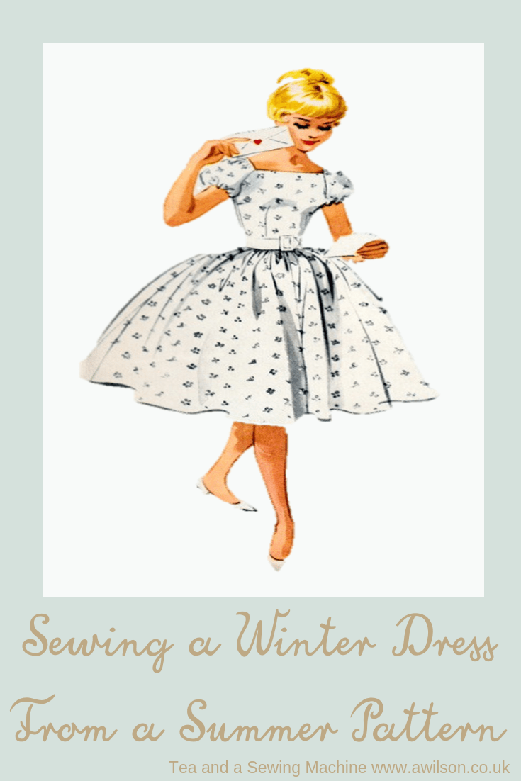 tips for sewing a winter dress from a summer pattern