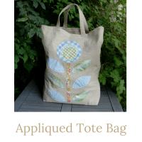appliqued tote bag