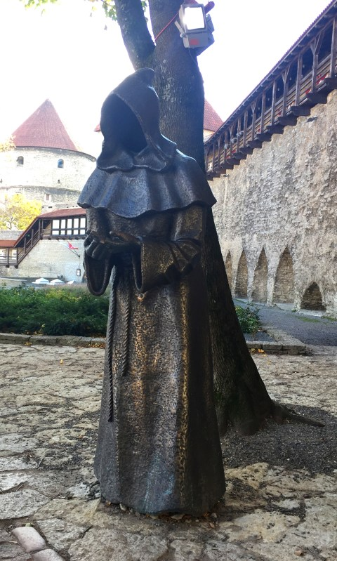 Creepy but cool monk statues at the Danish King's Garden. Tallin, Estonia