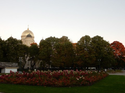 Flowers, fall leaves and the Nativity Church in Riga, Latvia