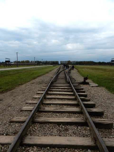 Train tracks in Auschwitz II-Birkenau. Poland