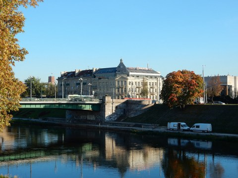 Neris River and Congress Hotel in Vilnius, Lithuania