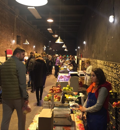Small indoor market in Wroclaw, Poland