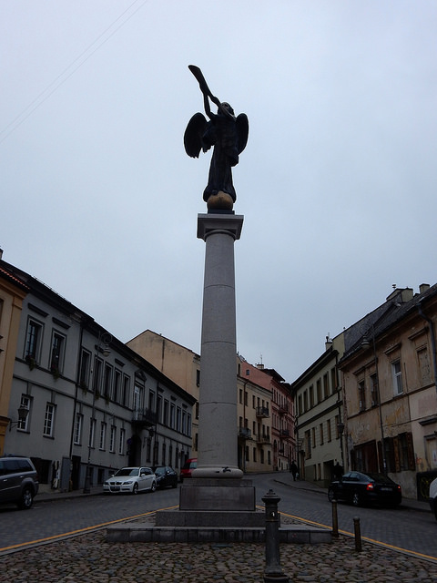 Angel sculpture in Uzupis central square by Romas Vilčiauska in Vilnius, Lithuania