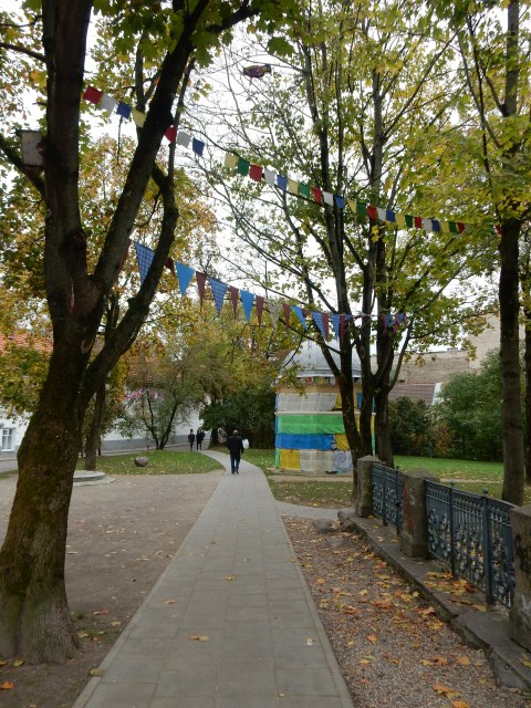 Buddhist prayer flags in Uzupis in Vilnius, Lithuania