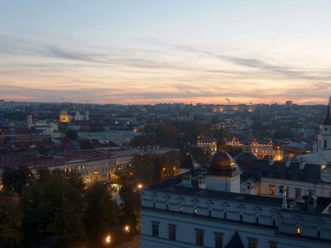 Sunset over Vilnius, Lithuania. From Gediminas' Tower