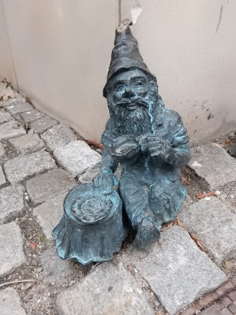 The tea drinker dwarf/gnome in Wroclaw, Poland