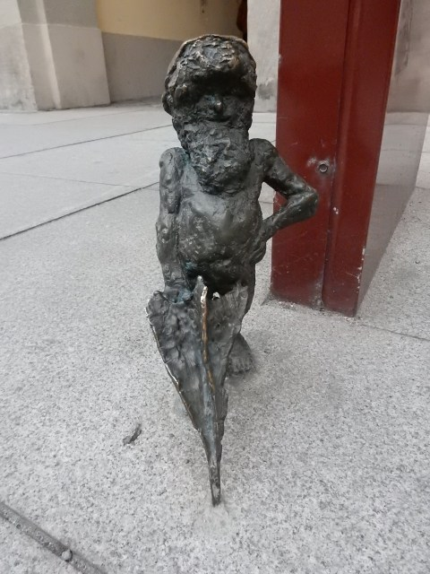 The umbrella man dwarf/gnome in Wroclaw, Poland