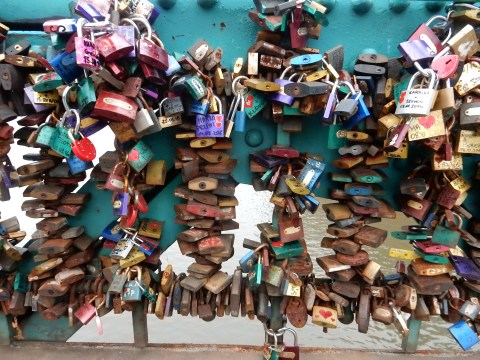 Love locks on Tumski Bridge in Wroclaw, Poland
