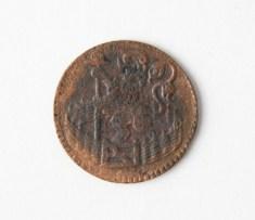Afb. 9b. Koperen duit van 1739 uit de provincie Holland.