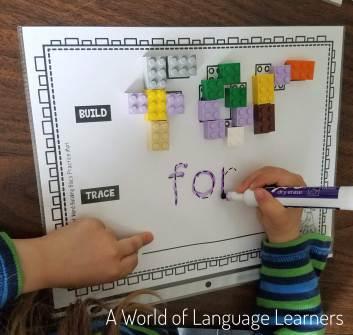 sight word building block mat