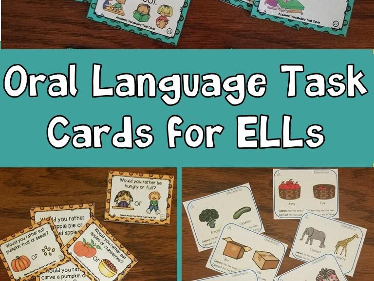 oral language task cards for ells