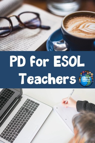 PD for ESOL Teachers- coffee, glasses, book on top computer below
