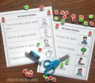 fall sentence matching worksheet