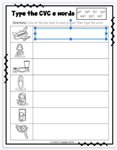 Google Slide cvc worksheet