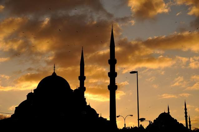 Istanbul at dusk Mosque silhouettes Eminonu A world to travel Turkey