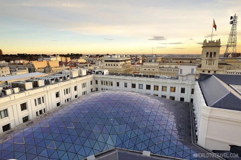 Madrid sunset postcard from Circulo de Bellas Artes rooftop - A World To Travel 2