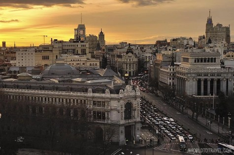 Madrid sunset postcard from Circulo de Bellas Artes rooftop - A World To Travel 3