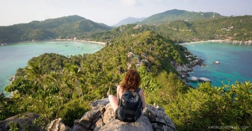 Stunning views from the summit of one of Koh Tao's peaks after an hour hike.