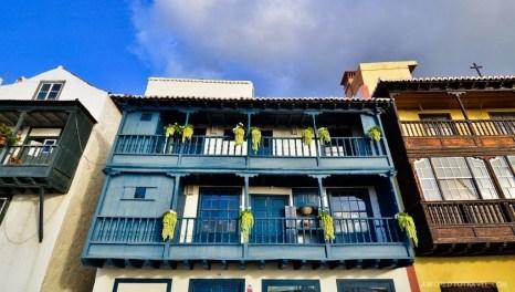 Washed multicolored buildings in Santa Cruz, La Palma.