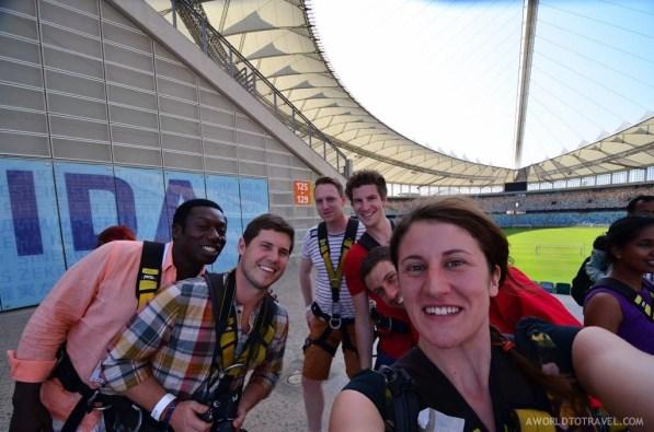 Big Rush Swing Jump Over Moses Mabhida Stadium, Durban, South Africa.