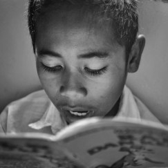 Kid reading at the local school in Melo village. Taman Bacaan Pelangi is a non profit organization to stablish children's libraries in remotes areas of eastern Indonesia (in Taman Bacaan Pelangi)