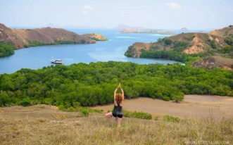 A yoga classic in Rinca Island, Komodo National Park, Indonesia