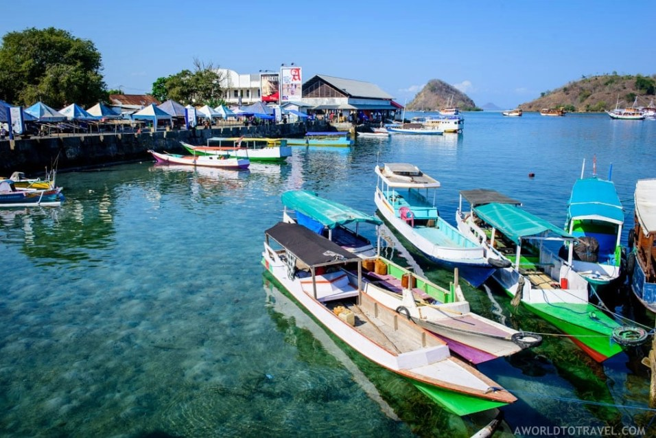 Traditional Indonesian boats at Labuan Bajo pier
