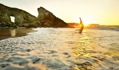 Serantes beach at sunset, Asturias