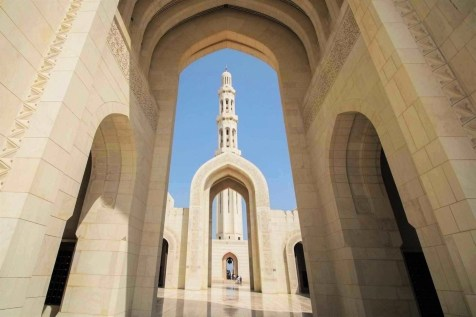 Hallway in Sultan Qaboos Grand Mosque - Muscat and Oman travel guide - A World to Travel